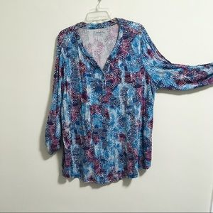 Relativity Abstract Henley Blouse 3X